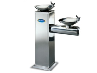 Floor standing double basin drinking water fountain